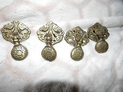 Set Of 4 Two Part Solid Brass Victorian Ornate Drawer Pulls G18-2