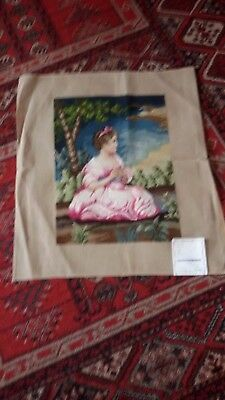 "Worked Tapestry ""child In Pink Dress"" 24In X 26In  Wool   Made In Australia"