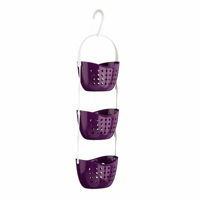 3 Tier Modern Hanging Basket Shower Caddy Rack Organise Plastic Storage Purple
