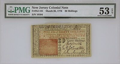 New Jersey Colonial Note March 25, 1776 30 Schillings FR#NJ-181 PMG 53 AU EPQ