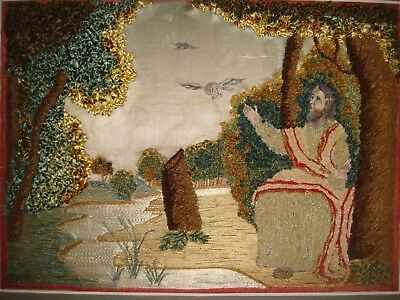 18Th Century Wool Work And Silk Embroidered Picture