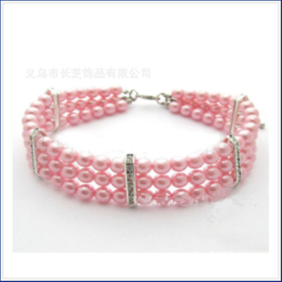 Pet Dog Puppy 3 Rows Pearls Crystal Necklace Collar Jewelry Charm Pendant Pink