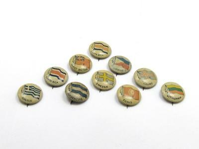 Vintage World Country & Flag Tin Badge Collection Lot of 10 #