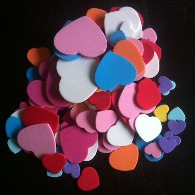 100 Foam Hearts ~ 15mm - 45mm ~ Various Colours & Sizes