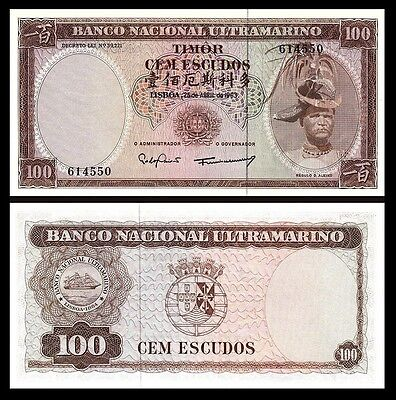 Timor / Portugal 100 Escudos 1963 Unc P.28A Very Little Yellow Spots