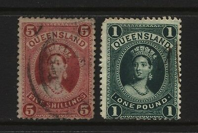 Australian States Queensland 2 QV Stamps 5s + £1 Used