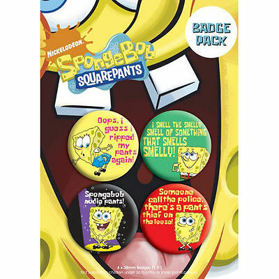 Button Badge 4er Pack SPONGEBOB - Schwammkopf 38mm  NEU BP0206