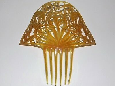 Antique Fancy Large Celluloid Jeweled Art Deco Hair Comb/barret