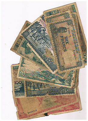 Belgian Congo Lot 18 Notes Very Poor Condition One With Big Hole