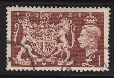 GB George VI Stamp £1 Brown 1951 Lightly Cancelled GCV
