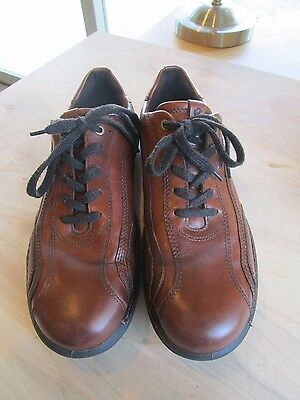 ECCO Brown Leather Oxford Lace Up Top Stitched Shoes Size Men's 44