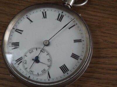 Beautiful Antique Solid Sterling Silver W&h Pocket Watch - Working
