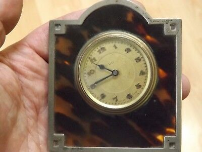 Interesting Antique 8 Day Travel Time Piece With Solid Silver Mount - Working