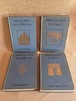 """Vintage """"THINGS SEEN IN"""" tourist books: Florence, Paris, Dolomites, Venice"""
