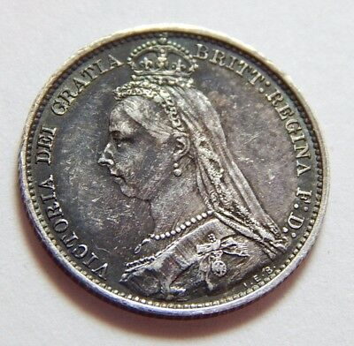 1891 UK Sterling Silver 6 Pence Coin Queen Victoria Jubilee Head - XF Details