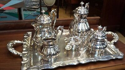 3678g sterling silver UPPER CLASS 6 PIECES TEA-COFFEE set: H.HERNANDEZ HM