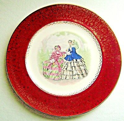 Vintage Godey Ladies Antebellum Fashion Plate Gold Floral on Red by Salem China