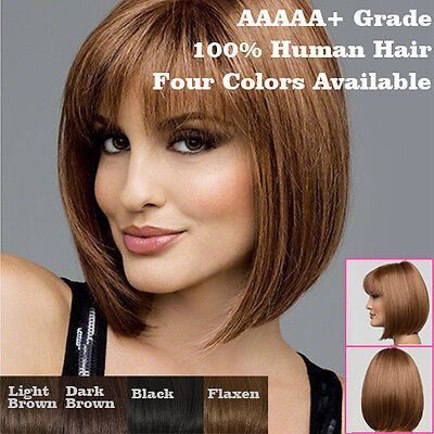 Womens Naturel Court Lisse BOB Cheveux Synthétique Cosplay Perruques Fête Bangs