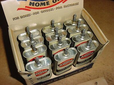 FULL * NEAR MINT WWII 1943 Vintage AMOCO HOME OIL Old Lead Spout Tin Oiler Can