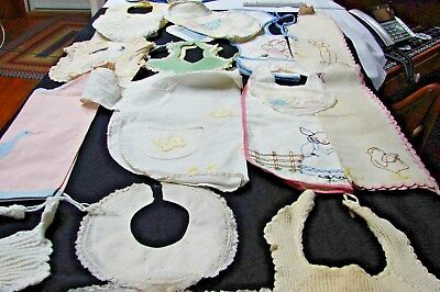 Large Lot 17 Antique & Vintage Quilted Embroidered Applique Animals Baby Bibs