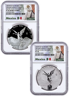2016-Mo Mexico 1 oz Silver Libertad From 2-Coin Set NGC PL70 PF69 ER SKU47340