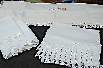 Antique Lot Four Pillowcases Crochet Runner Monogram Pillow Layover