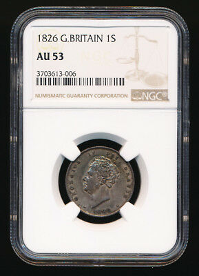 1826 Britain Shilling (Ngc Au53) Better Condition > No Reserve
