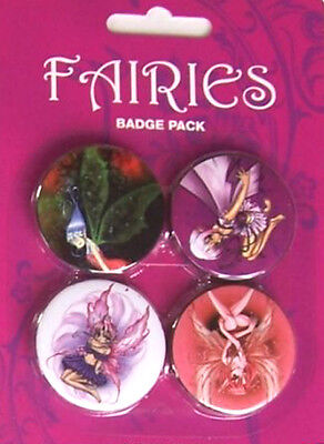 Button Badge 4er Pack FAIRIES - Elfen 4 x 38mm NEU