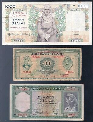 Greece, 1927-39, 3 NICE OLD Banknotes, VG-VF!!