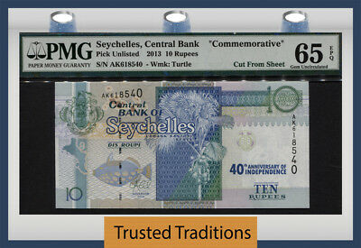 "Tt Pk Unl 2013 Seychelles 10 Rupees ""commemorative"" Pmg 65 Epq Gem Uncirculated!"