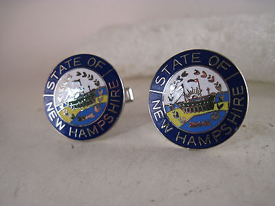 New Hampshire State  cloisonne logo cufflinks(m592)