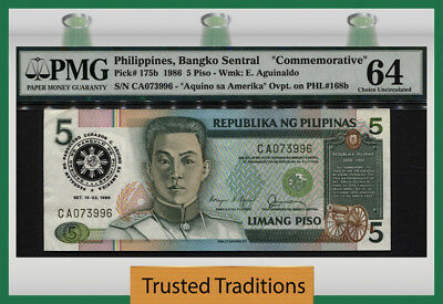 "TT PK 175b 1986 PHILIPPINES 5 PISO ""COMMEMORATIVE"" PMG 64 CHOICE UNCIRCULATED!"