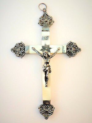 c1880, ANTIQUE 19thC FRENCH SILVER & MOTHER OF PEARL ORNATE CRUCIFIX PENDANT