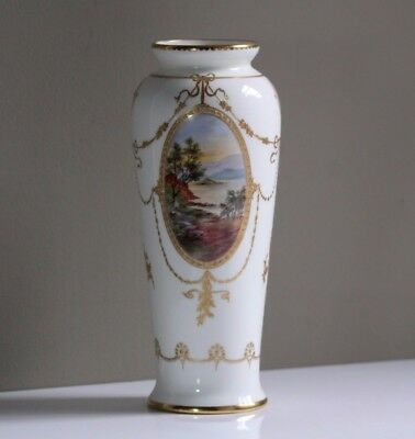 Antique 1920's Royal Doulton Hand Painted Gold Gilt Landscape Vase Artist Signed