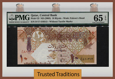 "Tt Pk 22 (2003) Qatar 10 Riyals ""falcon's Head"" Pmg 65 Epq Gem Uncirculated!"