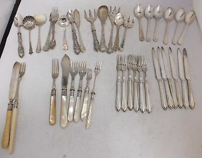 Lot of Vintage / Antique CUTLERY EPNS & STAINLESS Inc Mother of Pearl - S77