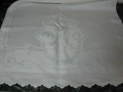 4 ANTIQUE WHITE IRISH LINEN DAMASK BATH TOWELS with PRETTY ROSES 40""