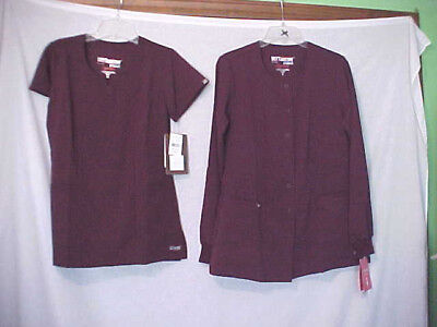 GREY'S ANATOMY SCRUBS Barco NEW w/tags S/SLV XS & JACKET small PORT WINE color