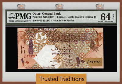 "Tt Pk 30 (2008) Qatar 10 Riyals ""falcon's Head"" Pmg 64 Epq Choice Uncirculated!"