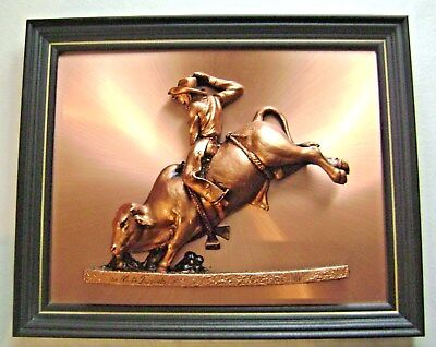 Rodeo Bull Rider 3-D Sculpture Copper Plaque The White Tornado Signed Victor