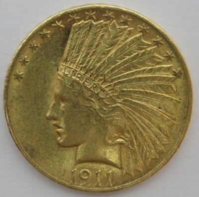 1911 BEAUTIFUL US $10 GOLD EAGLE - INDIAN HEAD 10 DOLLAR Gold COIN .5 oz