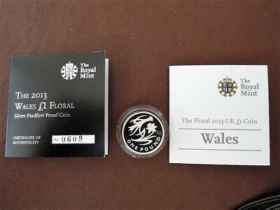 2013 Floral Wales  £1 Silver Piedfort Proof Coin Number 0609 Of 3000