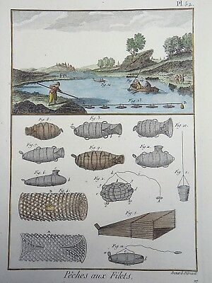 1793 Panckoucke FISHING Course Fishing Nets hand colored FOLIO antique original