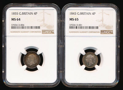 1843 & 1855 BRITISH 4 PENCE NGC MS65 & MS64 BEAUTIES (1843 is a TOP POP!) NO RSV