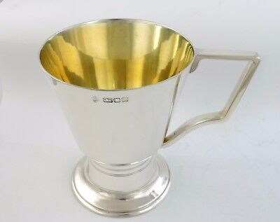 Stunnning Art Deco SILVER GILT PINT MUG, London 1946 beer tankard ale cup 340g