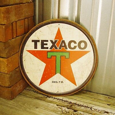 "Texaco Red Star Motor Oil Gas Logo 12"" Round Metal Tin Sign Garage Decor Station"