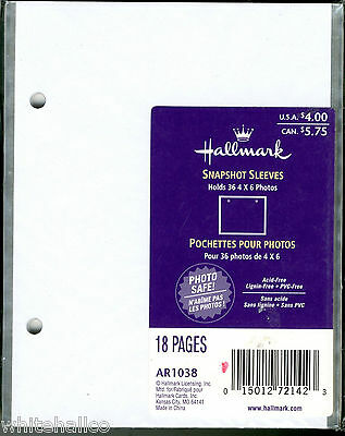 Hallmark Snapshot Sleeves 3 Refill AR1038 For Refillable 2-Ring Albums 3X18 = 54