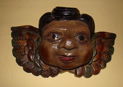 """Wooden Angel small Hanging Mask Guerrero 10""""W X 6""""T X 4.5"""" Deep  ready to hang!!"""