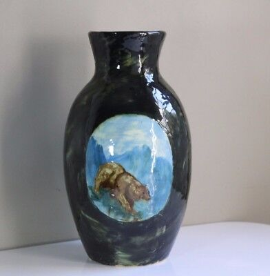 Antique c. 1880 T. J. Wheatley Art Pottery Grizzly Bear & Mountain Scene Vase