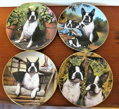 4 Retired Danbury Mint Dan Hatala Boston Terrier Limited Edition Display Plates